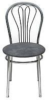 [ Стул Venus chrome S-96  + Подарок ] Мягкий хромированный стул искусственная кожа серый