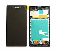 Дисплей (экран) + сенсор (тач скрин) SONY Xperia Z1 (C6902 L39h, C6903) с рамкой (оригинал)