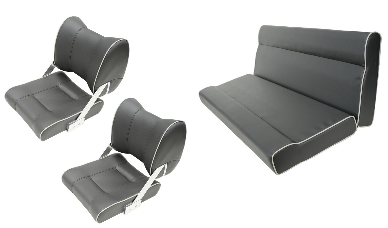 Комплект сидений для катера и лодки темно-серый