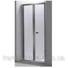 Дверь Eger bifold 599-163-80 80*195, профиль хром, стекло прозрачное 5 мм