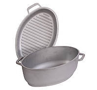 Гусятница алюминиевая Биол 2,5 л с крышкой сковородкой-гриль , фото 1