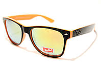 Очки Ray Ben Wayfarer 2140 С56 SM 02748, очки рей с зеркальными оранжевыми линзами в чёрной оправе