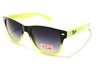 Очки Ray Ben Wayfarer 2140 С64 SM 02755, очки рей бен чёрные с жёлтым (реплика)