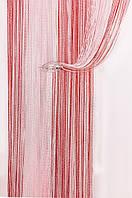 Шторы-нити Радуга Дождь белый/розовый/красный