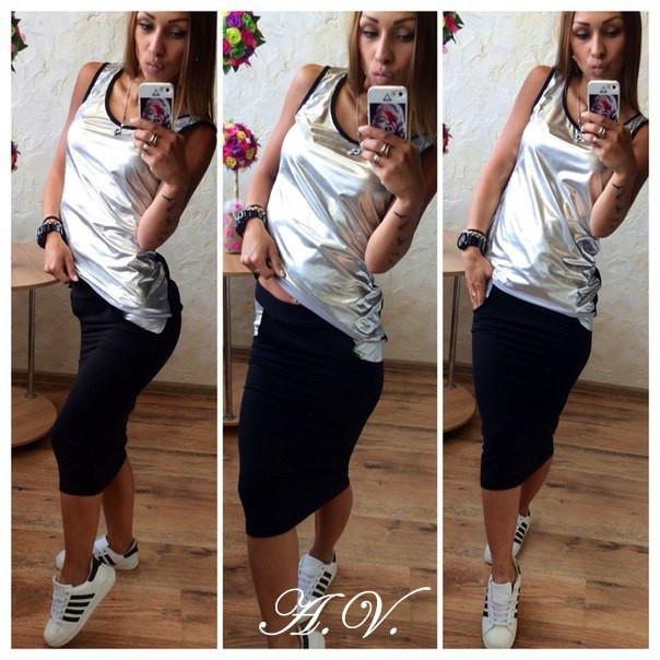"""Летний спортивный костюм однотонная юбка + майка   трикотаж двухнитка Турция + парча цвет серебро - Интернет-магазин """"Гардеробчик"""" в Одессе"""