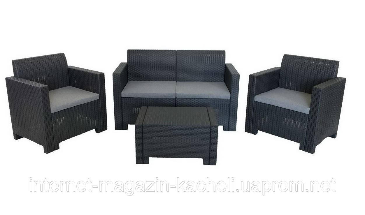 Комплект мебели из искусственного ротанга антрацит NEBRASKA-2