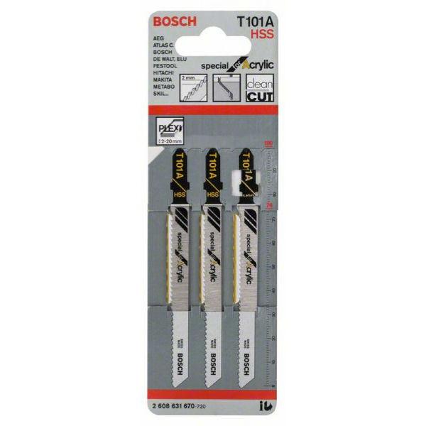 Пилки лобзиковые Bosch 3 шт T 101 А, HSS