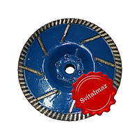 Сухорез, круг, диск угловой прорезной Ф130 мм. на фланце для камня габбро.