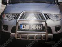 Кенгурятник с грилем и круглой перемычкой Mitsubishi Pajero Sport