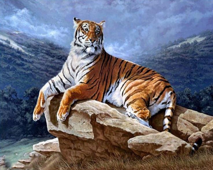 "Алмазная вышивка ""Тигр на скале"" (техника рисование камнями) - Интернет магазин  ""Ромашка"" в Ивано-Франковске"