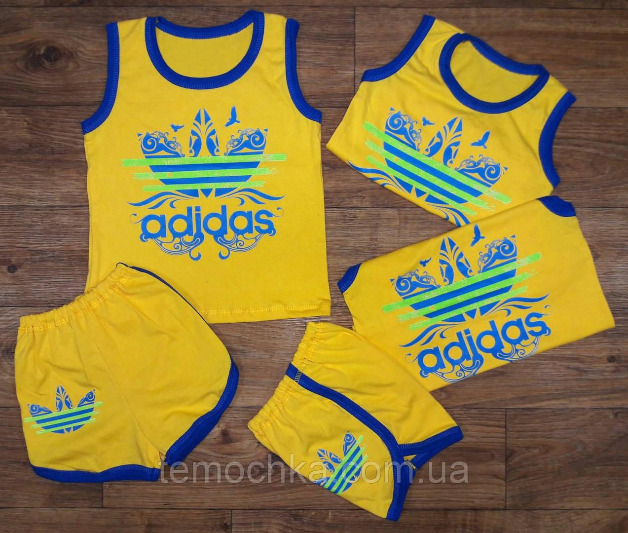 Желтый летний детский комплект Adidas