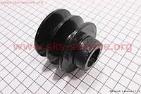Шкив ведущий D=55мм под коленвал 20мм 2-х ручейковый, сталь