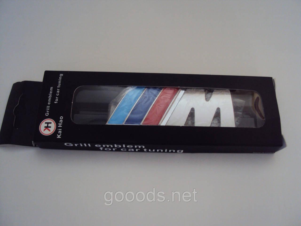 Надпись металлическая М в решетку для BMW