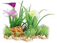 Растение пластиковое для аквариума Трикси (Trixie) на каменной подложке 13 см