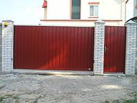 Откатные ворота металлические въездные