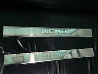 Citroen Nemo (2007+) Накладки на пороги Carmos (нерж.)