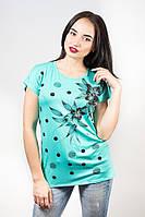 Женская футболка с принтом и стразами р.48L Н25/4