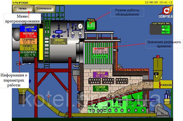Сенсорный дисплей автоматики Модулянт в паровых котлах Комконт
