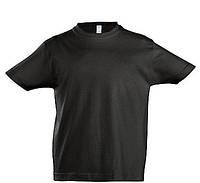 Детская футболка для печати х/б цвет ЧЕРНЫЙ
