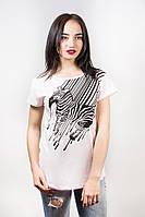 Женская футболка с принтом Zebra Хлопок р.46-48 Т4