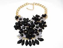 Кольє Fashion квіти, чорні кристали