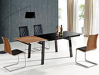 Стол обеденный стеклянный BENEDIKT черный/орех Halmar