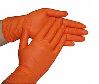 Нитриловые перчатки плотные Оранжевые Италия