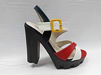 Цветные босоножки на устойчивом каблуке и платформе. Маленькие и стандартные размеры. , фото 1