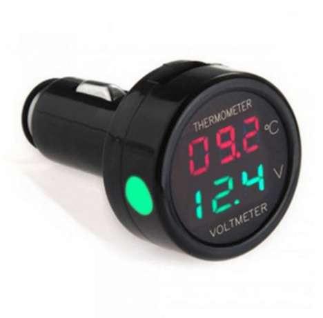 Вольтметр с термометром автомобильный в прикуриватель