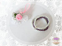 Браслет тройной бело-фиолетовый