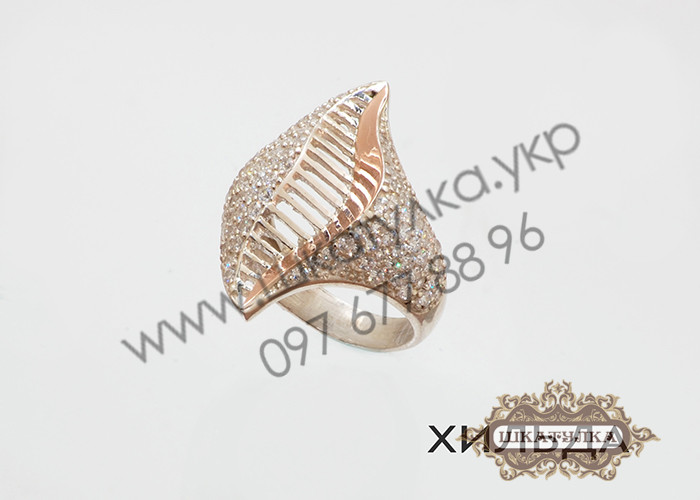 Серебряное кольцо с золотом и цирконом Хильда