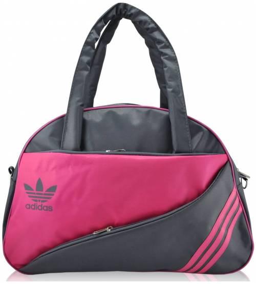 Спортивная сумка Adidas Diagonal серая с малиновым реплика