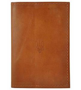 Обложка для паспорта кожаная Украина рыжая
