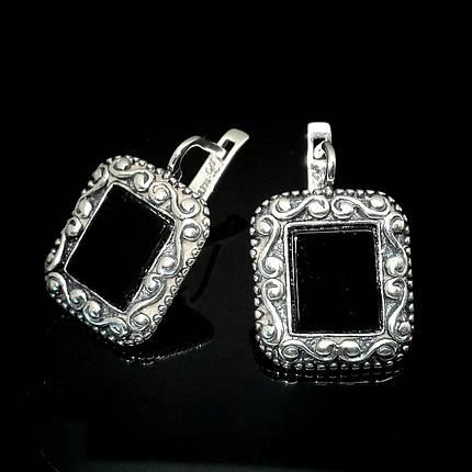 Оригинальные серебряные серьги с искусственным ониксом, фото 2