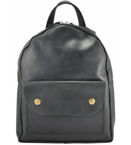 Кожаный рюкзак Military черный