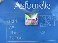 Стразы пришивные Asfour Квадрат 14мм. Crystal AB