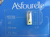 Стразы пришивные Asfour Багет 18мм. Crystal AB