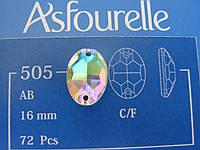 Стразы пришивные Asfour Овал 16мм. Crystal AB