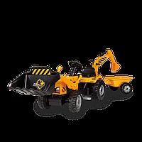 Детский педальный трактор + прицеп + ковш Max Smoby 33389