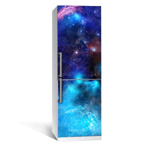 Виниловая наклейка на холодильник Космос 3 (пленка самоклеющаяся фотопечать) глянцевая без ламинации 600*2000 мм