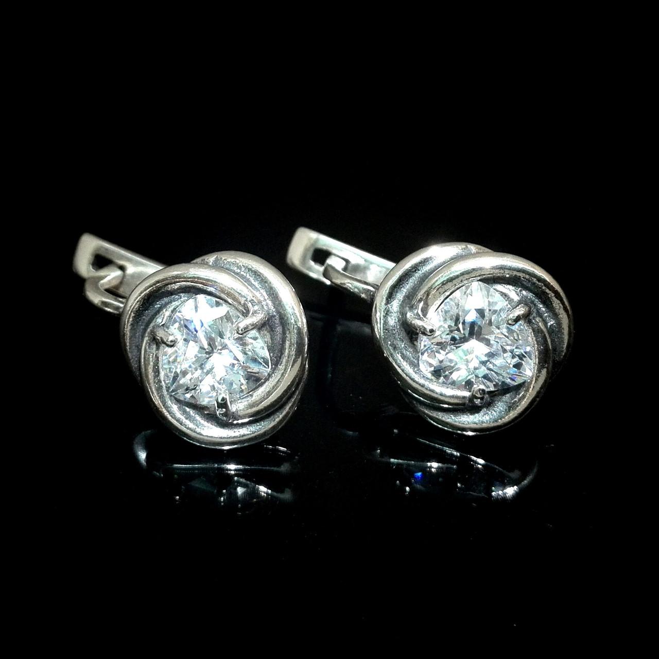 Серебряные серьги с прозрачными фианитами