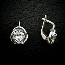 Серебряные серьги с прозрачными фианитами, фото 3