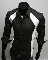 Мужская стильная рубашка с длинным рукавом черная