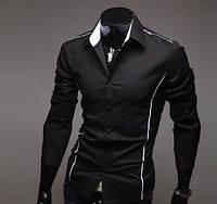 Мужская стильная рубашка  с длинным рукавом -черная