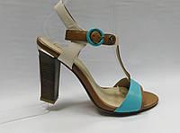 Босоножки кожаные на устойчивом каблуке Geronea. 2 цвета ( оранжевые и голубые )., фото 1