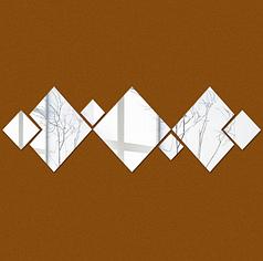 Зеркальные наклейки ромбы от 6см до 20см пластиковые, 7шт набор