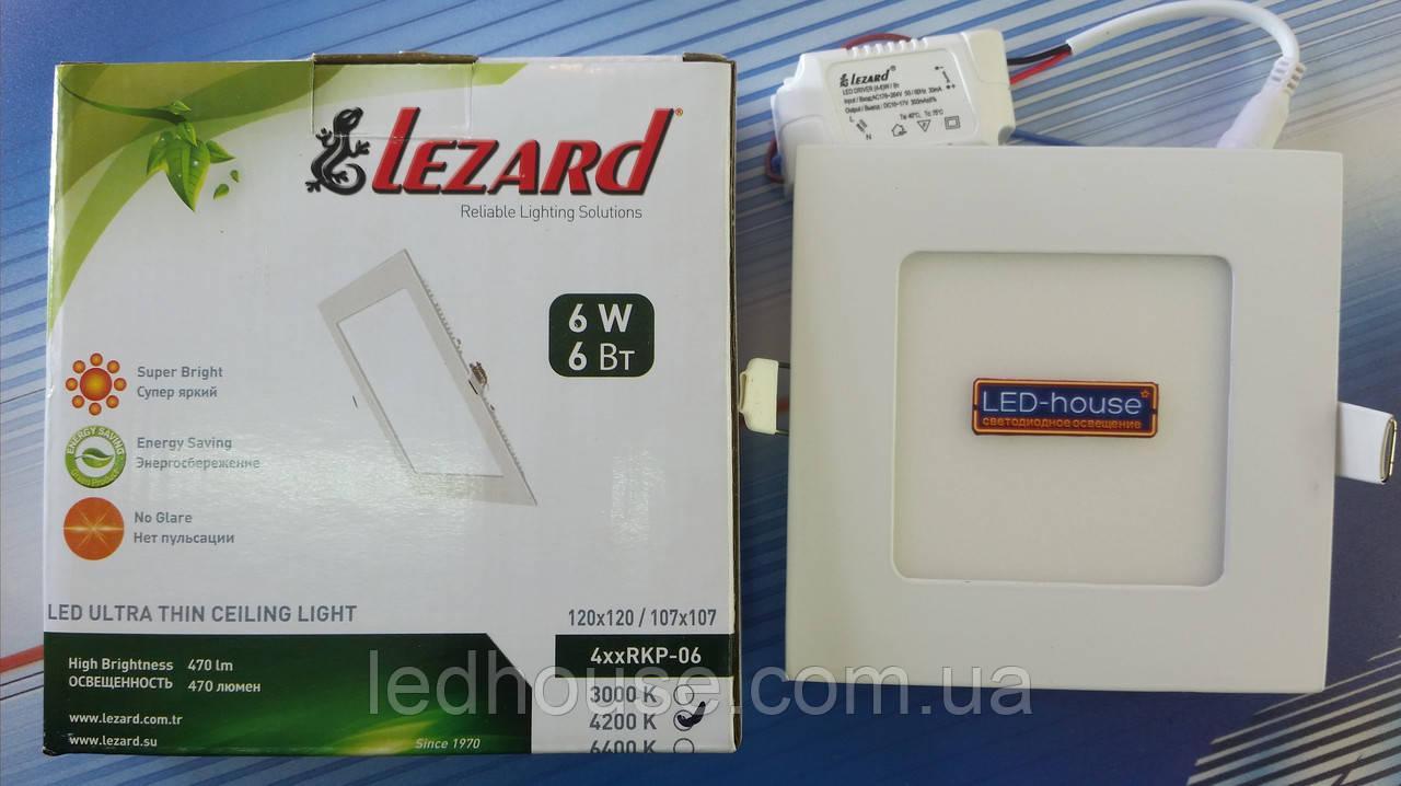 """Світлодіодний світильник 6W """"квадрат"""" Lezard 6400K"""