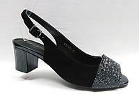 Черные замшевые босоножки Lanzoni. Невысокий каблук.
