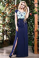 """Эффектное двухцветное платье в пол """"Украшенное стильным принтом"""" РАЗНЫЕ ЦВЕТА"""