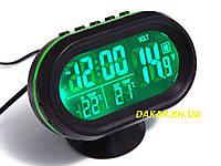 Автомобильные часы термометр вольтметр VST 7009 V зелёная подсветка